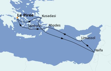 Itinéraire de la croisière Grèce & Adriatique 7 jours à bord du MSC Lirica
