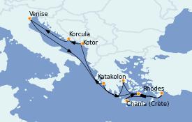 Itinéraire de la croisière Grèce & Adriatique 13 jours à bord du ms Eurodam
