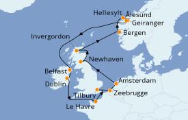 Itinéraire de la croisière Îles Britanniques 15 jours à bord du Norwegian Jade