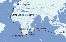 Itinéraire de la croisière Australie 2023 34 jours à bord du Queen Mary 2