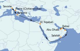 Itinéraire de la croisière Dubaï - Emirats 19 jours à bord du Costa Pacifica