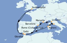 Itinéraire de la croisière Méditerranée 15 jours à bord du Sky Princess