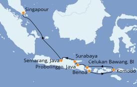 Itinéraire de la croisière Asie 11 jours à bord du Seabourn Ovation