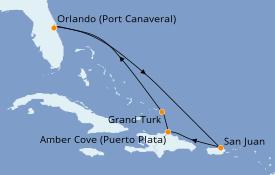 Itinéraire de la croisière Caraïbes de l'Est 8 jours à bord du Carnival Mardi Gras