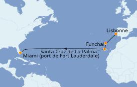 Itinéraire de la croisière Îles Canaries 14 jours à bord du Silver Dawn