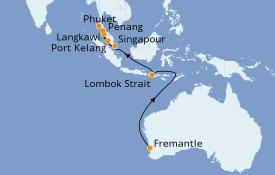 Itinéraire de la croisière Australie 2021 13 jours à bord du Sea Princess