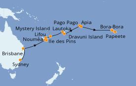 Itinéraire de la croisière Australie 2020 22 jours à bord du Norwegian Jewel