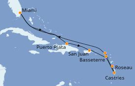 Itinéraire de la croisière Caraïbes de l'Est 11 jours à bord du Seven Seas Splendor