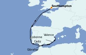 Itinéraire de la croisière Méditerranée 13 jours à bord du Queen Elizabeth