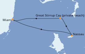 Itinéraire de la croisière Bahamas 4 jours à bord du Norwegian Sky