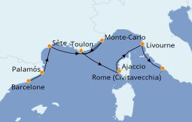 Itinéraire de la croisière Méditerranée 8 jours à bord du Seabourn Odyssey