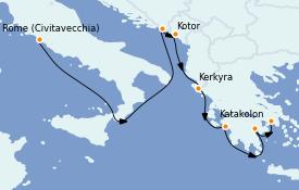 Itinéraire de la croisière Grèce & Adriatique 8 jours à bord du ms Nieuw Statendam