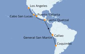 Itinéraire de la croisière Riviera Mexicaine 19 jours à bord du