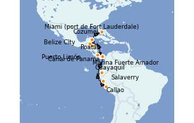 Itinéraire de la croisière Caraïbes de l'Ouest 17 jours à bord du Silver Moon