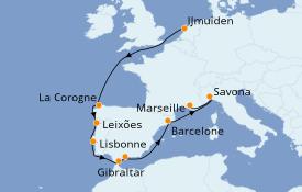 Itinéraire de la croisière Méditerranée 11 jours à bord du Costa Favolosa