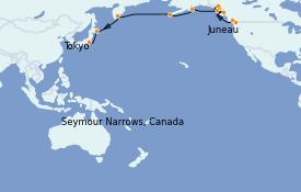 Itinéraire de la croisière Alaska 19 jours à bord du Silver Shadow