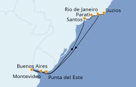 Itinéraire de la croisière Amérique du Sud 14 jours à bord du Azamara Pursuit