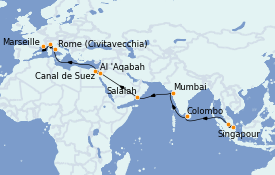Itinéraire de la croisière Tour du Monde 2022 25 jours à bord du MSC Poesia