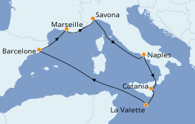 Itinéraire de la croisière Méditerranée 8 jours à bord du Costa Fascinosa