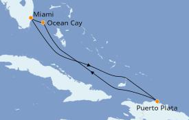 Itinéraire de la croisière Caraïbes de l'Est 6 jours à bord du MSC Divina