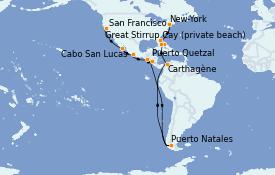 Itinéraire de la croisière Riviera Mexicaine 21 jours à bord du MS Insignia