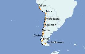 Itinéraire de la croisière Amérique du Sud 18 jours à bord du Silver Cloud Expedition