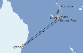 Itinéraire de la croisière Australie 2020 10 jours à bord du Voyager of the Seas