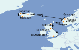 Itinéraire de la croisière Fjords & Norvège 11 jours à bord du Norwegian Star