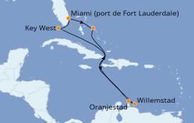 Itinéraire de la croisière Caraïbes de l'Est 9 jours à bord du ms Rotterdam