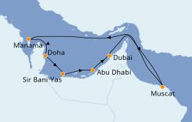 Itinéraire de la croisière Dubaï - Emirats 11 jours à bord du Azamara Pursuit
