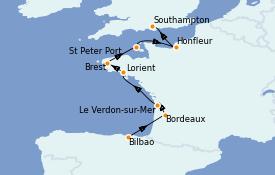 Itinéraire de la croisière Atlantique 8 jours à bord du Seven Seas Voyager