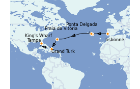 Itinéraire de la croisière Îles Canaries 14 jours à bord du Carnival Pride