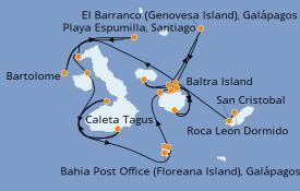 Itinéraire de la croisière Îles Galapagos 11 jours à bord du Silver Origin
