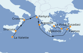 Itinéraire de la croisière Grèce & Adriatique 11 jours à bord du Seabourn Encore