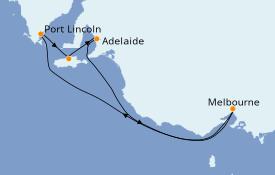 Itinéraire de la croisière Australie 2021 7 jours à bord du Sapphire Princess