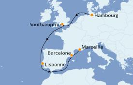 Itinéraire de la croisière Méditerranée 12 jours à bord du MSC Grandiosa