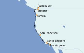 Itinéraire de la croisière Californie 8 jours à bord du Crown Princess