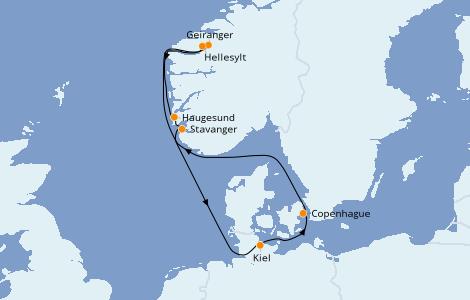 Itinéraire de la croisière Fjords & Norvège 7 jours à bord du Costa Diadema