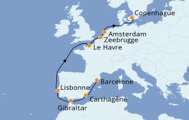 Itinéraire de la croisière Méditerranée 11 jours à bord du Jewel of the Seas