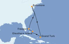 Itinéraire de la croisière Bahamas 8 jours à bord du Carnival Pride