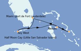 Itinéraire de la croisière Bahamas 6 jours à bord du ms Nieuw Amsterdam