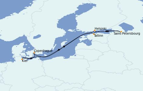 Itinéraire de la croisière Mer Baltique 7 jours à bord du MSC Grandiosa