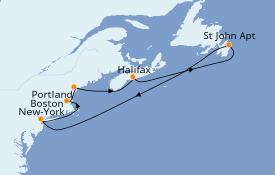 Itinéraire de la croisière Canada 8 jours à bord du Carnival Radiance