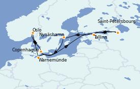 Itinéraire de la croisière Mer Baltique 11 jours à bord du Enchanted Princess