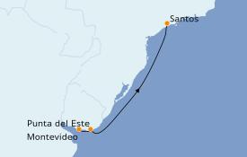 Itinéraire de la croisière Amérique du Sud 8 jours à bord du Costa Luminosa