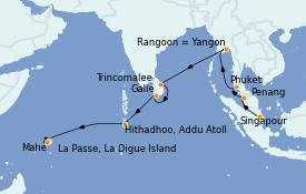 Itinéraire de la croisière Asie 19 jours à bord du Silver Shadow