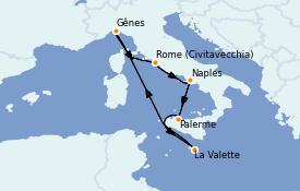 Itinéraire de la croisière Méditerranée 15 jours à bord du MSC Grandiosa