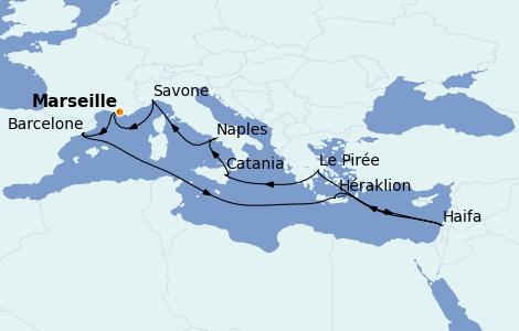 Itinéraire de la croisière Méditerranée 13 jours à bord du Costa Fascinosa