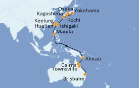 Itinéraire de la croisière Australie 2022 23 jours à bord du Pacific Princess