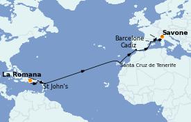 Itinéraire de la croisière Transatlantiques et Grands Voyages 2023 16 jours à bord du Costa Pacifica